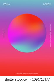 Poster with a modern sphere. Holographic gradient.