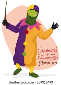 Poster with Monocuco character with traditional costume: colorful suit, hood, mask, big buttons, jingle bells and totumo's rod, performing dance in Barranquilla's Carnival (written in Spanish) event.