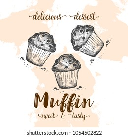 Poster with muffins. Set of hand drawn cakes. Vector illustration with sketch baking. Fresh and tasty food. Cafe menu.