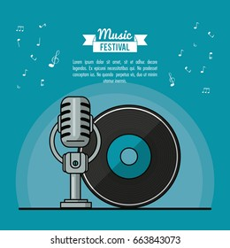 poster music festival in blue background with vinyl lp record and microphone