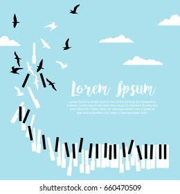 Poster for music festival or concert with piano keys and flying birds in blue sky with clouds and space for text