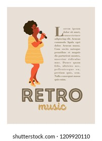 Poster music festival, retro party in the style of the 70's, 80's. Jazz party. Beautiful Afro female singer. Vector illustration.
