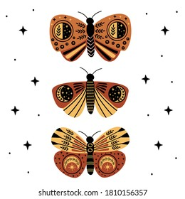 poster with mystic moths and butterflies