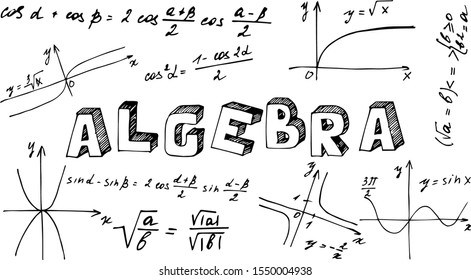 """Poster with the name of the school subject algebra in English. The inscription """"algebra"""" in the style of Doodle with icons on a white background. School subjects plaques."""
