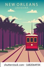 Poster New Orleans landscape. New-Orleans vector illustration.