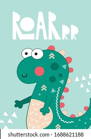 Poster for nursery design - cute mint dinosaur in pre-made card. Vector Illustration. Kids illustration for baby clothes, greeting card, wrapping paper. Lettering Roar.