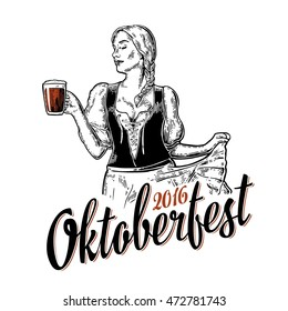 Poster to oktoberfest festival. Young sexy girl wearing a traditional Bavarian dress dirndl dancing with beer mug. Vintage vector engraving illustration isolated on white background.