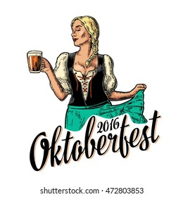 Poster to oktoberfest festival. Young sexy girl wearing a traditional Bavarian dress dirndl dancing and holding beer mug. Vintage color vector engraving illustration isolated on white background.
