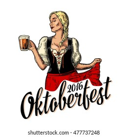 Poster to oktoberfest festival. Young sexy girl wearing a traditional Bavarian dress dirndl dancing and holding beer mug. Vintage color vector engraving illustration isolated on dark background.