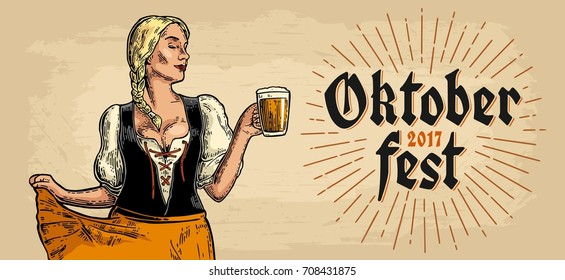 Poster to oktoberfest festival. Young sexy girl wearing a traditional Bavarian dress dirndl dancing and holding beer mug. Vintage color vector engraving illustration isolated on beige background.