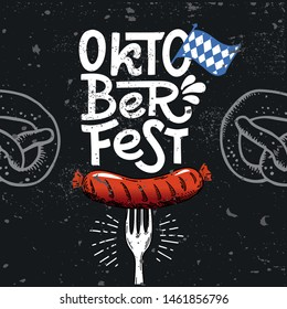 Poster Oktoberfest. Vector flat illustration for German beer festival in Munich. Hand Drawn Lettering with picture of grill sausage with a fork, pretzel and Bavarian flag. For menu, flyer, card, badge