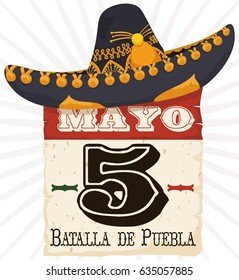Poster with old loose-leaf calendar with reminder date for Cinco de Mayo (written in Spanish) and Charro hat in the top of it.