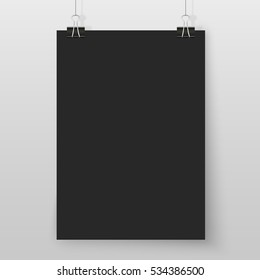 Poster on binder clips on grey wall. Rectangular black paper mock up. Modern vertical framings for your design. Vector blackboard template for lettering, drawing, presentations or quotes.