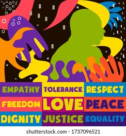 Poster on concepts of Civil Rights movement with activist in bold colorful design