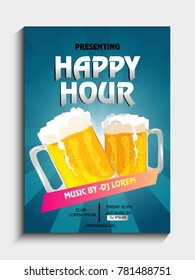 Poster on happy hour with two mug inside wine.