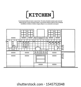Poster on the theme of kitchen interior with furniture, kitchen appliances, dishes. Vector colored illustration for use in design