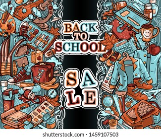 "A poster on the theme ""Back to school"", ""Sale"". The text is framed by stripes from a variety of objects: office supplies, school uniforms, shoes, food and hobbies of schoolchildren and students."