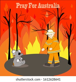 Poster of one Australian firefighter helping two koala cring from bigest forest fire in Australia. Vector design.