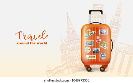 Poster with orange luggage bag of world traveler and words saying Travel around the world.