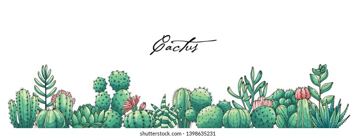 Poster with ornament hand drawn colored lettering, cacti and succulents. Vector composition in scketch style