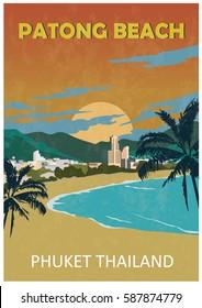 Poster of Patong beach. Phuket. Thailand. Retro style.