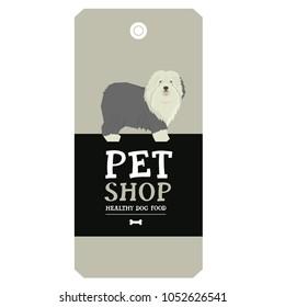 Poster Pet Shop Design label Old English Sheepdog Geometric style