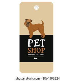 Poster Pet Shop Design label Griffon Bruxellois Geometric style