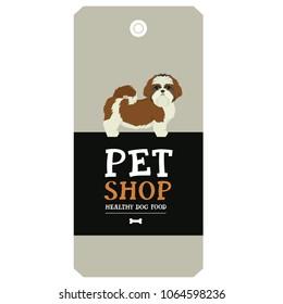 Poster Pet Shop Design label Shih Tzu Geometric style