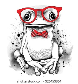 Poster with a picture of a frog wearing glasses and red tie. Vector illustration.