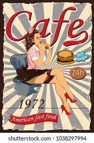 Poster with a pin-up waitress.Fast Food american Cafes.The best burger vector illustration.A young blonde girl is eating a hamburger