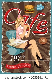 Poster with a pin-up waitress.Fast Food Cafes