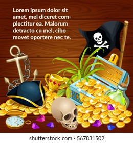 Poster pirate accessories composition with treasure, gems and skull. Elements for games. Vector illustration with space for text.