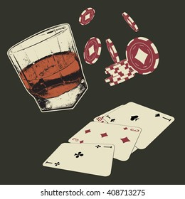 Poster with a poker chips, playing cards,glass of whiskey.Vector illustration