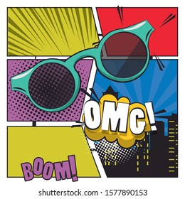 poster pop art style with sunglasses accessory vector illustration design