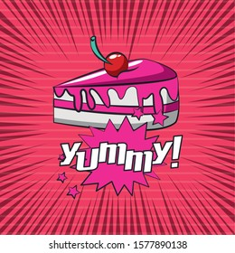 poster pop art style with sweet cake portion vector illustration design
