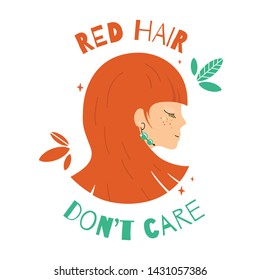 Poster with portrait of beautiful girl and quote Red hair don't care.Young woman with bob hairstyle and emerald earrings. Design for women's hair salon. Teenager with freckles,makeup and trendy hairdo
