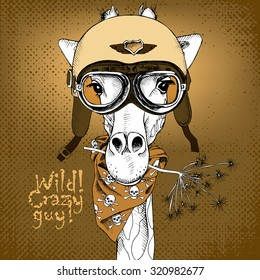 Poster with portrait of a giraffe wearing retro motorcyclist helmet and neckerchief with images a skull. Vector illustration.