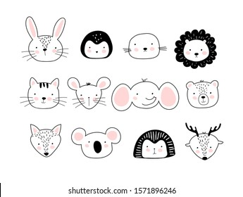 A poster with portraits of different cute animals. Template for children coloring book, postcard, print. Doodle drawing with wild animals and pets. Vector flat stock on a white background.