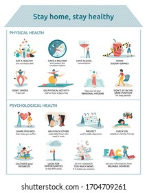 Poster with prevention advices to stay home safe and healthy: healthy lifestyle and anxiety management. Vectors of people coping with social distancing. Tips for physical and mental health.