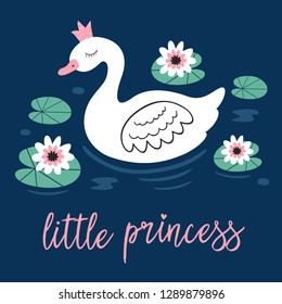 poster with princess swan in lake - vector illustration, eps