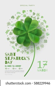 Poster in the pub on St Patrick's Day. A poster with a large four-sheeted clover can be used for a party or a concert. White background with room for text. Cover design template.