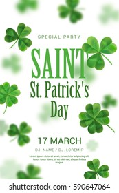 Poster in the pub on St Patrick's Day. The poster can be used for a party or a concert. White background with clover in 3D effect.