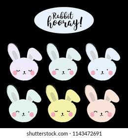 "Poster ""Rabbit hooray!"" on a black background. Vector illustration"