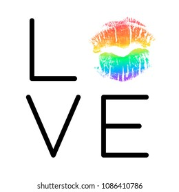 Poster with rainbow lipstick imprint. Black phrase Love and LGBT colorful lips kiss isolated on white background. Vector Decorative illustration for support card