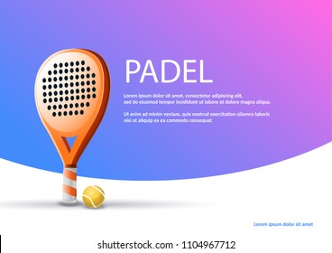 """Poster raquet padel tennis: Vector illustration of racket and paddle ball on blue and purple background. Spanish sample text """"PADEL"""""""
