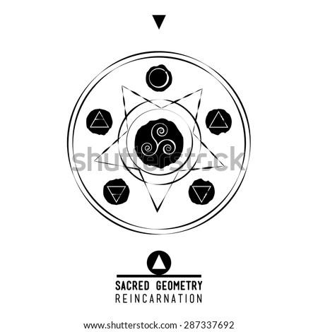 Poster Reincarnation Sacred Geometry Set Trendy Vector Stock Vector