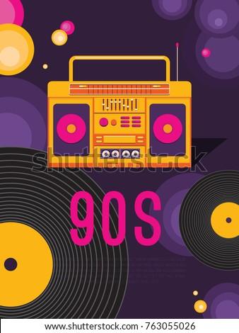 Poster Retro Party Music 90 S 80 S Stock Vektorgrafik Lizenzfrei
