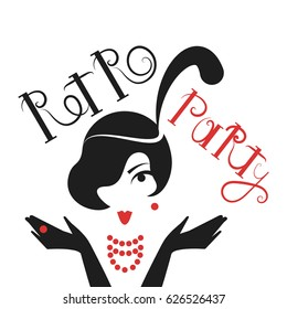 poster retro party with woman in vintage style 1920's. Vector illustration isolated on white background.