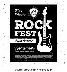 Poster for a rock music festival with guitar. Rock and Roll sign. Vector illustration.