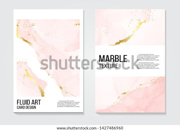 Poster Rose Gold Invitations Concept Card Stock Vector